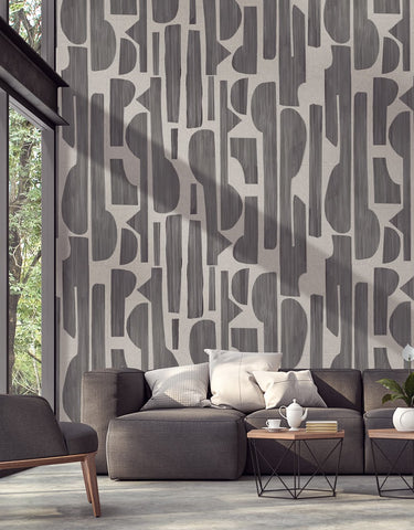 Eijffinger Bold 395896 graphic charcoal contemporary mural