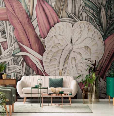 Tres Tintas Rubrica M3405-2 giant floral and leaf jungle mural
