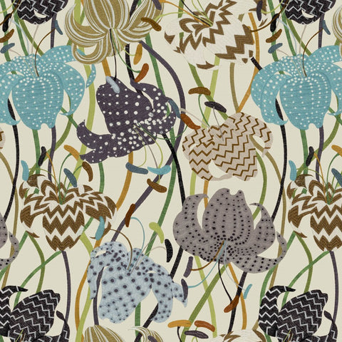 Missoni Home 3 - 10230 embroidered effect vinyl lily floral wallpaper