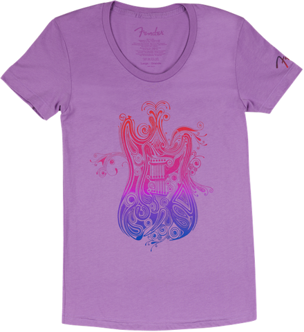 Fender Ladies Paisely Fade Purple T-Shirt