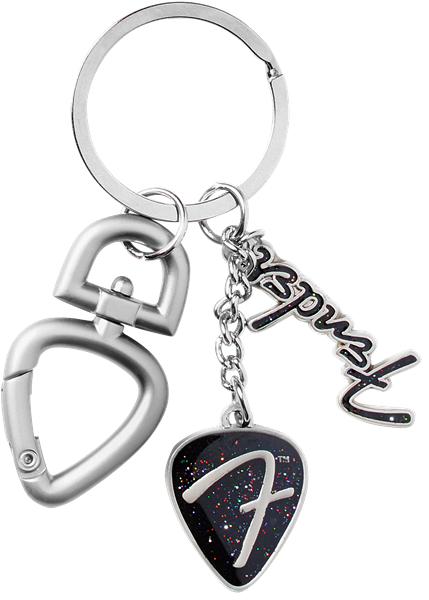 "Fender 3-Piece ""F"" Logo Keychain with Clip Chrome"