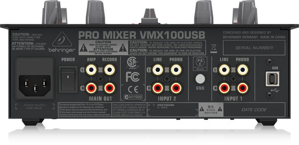 Behringer VMX100USB DJ Mixer with USB/Audio Interface