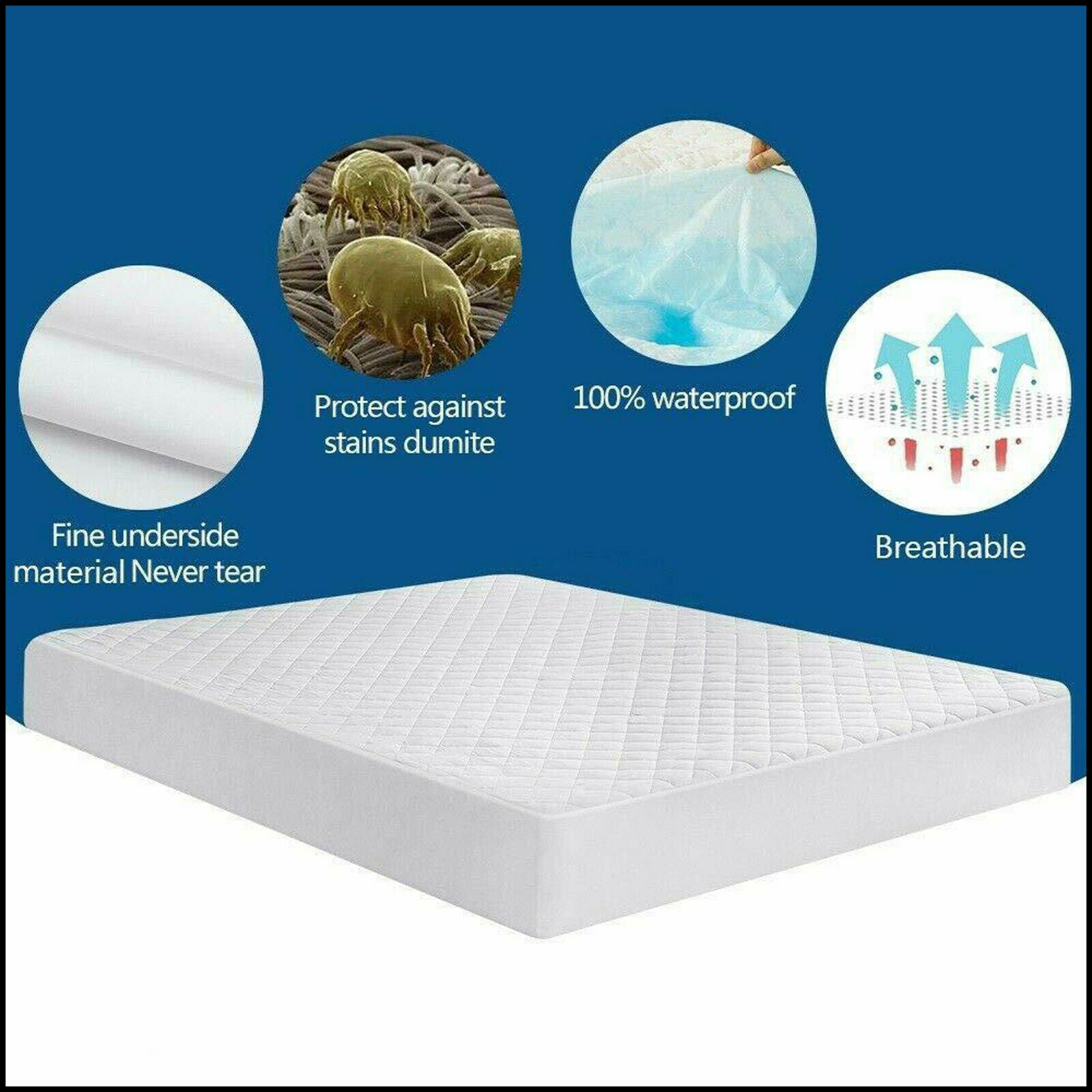 "Waterproof Mattress Protector Extra Deep 12"" Fitted Mattress Cover 100% Cotton"