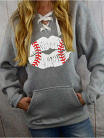 Load image into Gallery viewer, Women's Distressed Baseball Lips Sweatshirt