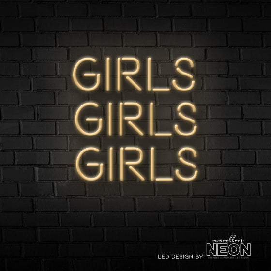 GIRLS GIRLS GIRLS LED Neon Sign - Marvellous Neon