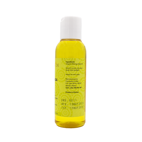 Image of Farmsyde Organic Moringa Oil - Cold Pressed, Virgin, Unrefined (120ml) for Joints, Skin, Hair with Detoxifying Properties