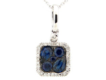 Load image into Gallery viewer, 14k White Gold Sapphire and Diamond Pendant
