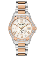 Load image into Gallery viewer, Ladies White and Rose Two Tone Stainless Steel Bulova Watch