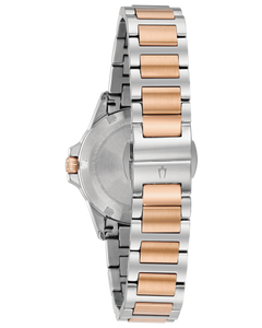Ladies White and Rose Two Tone Stainless Steel Bulova Watch