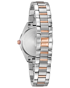 Ladies Rose and White Tone Stainless Steel Bulova Watch