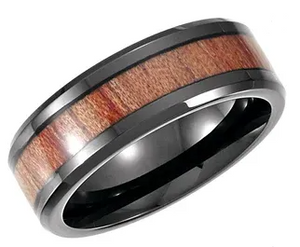 Black PVD Cobalt Band with Wood Inlay (8mm)