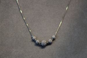 "Sterling Silver Rhodium Plated 18"" Sparkle Center Bead Necklace"