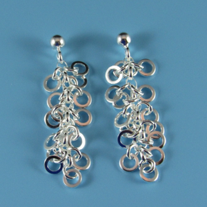 Ladies Dobbs Sterling Silver Rhodium Plated Post Earrings
