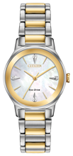Load image into Gallery viewer, Ladies Stainless Steel Yellow and White Tone Eco-Drive Citizen Watch