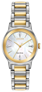 Ladies Stainless Steel Yellow and White Tone Eco-Drive Citizen Watch