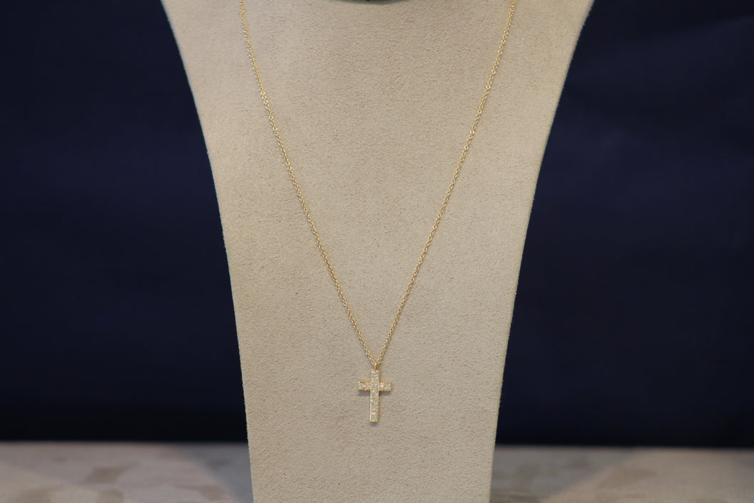 14k YellowGold Cross Pendant on a 16