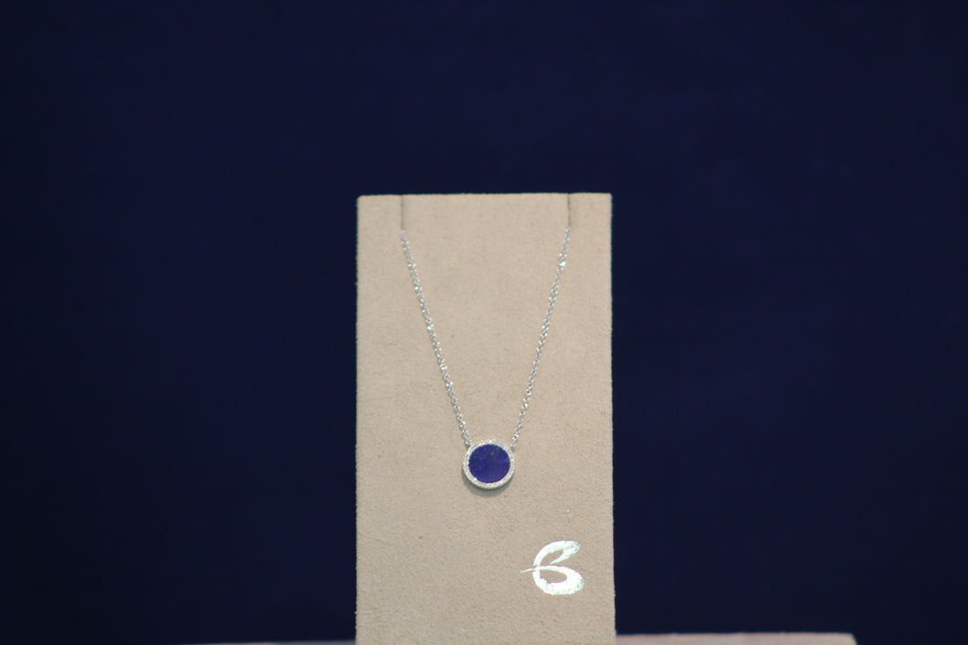 14k White Gold Blue Lapis and Diamond Pendant