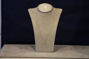 "14k Yellow Gold Cross Pendant on a 16"" Chain with 2"" Extender"