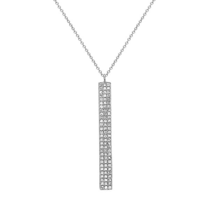 14k White Gold Diamond Vertical Bar Necklace