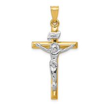 Load image into Gallery viewer, 14k Yellow and White Gold INRI Crucifix Pendant