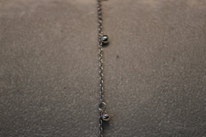14k White Gold Dangle Bead Anklet