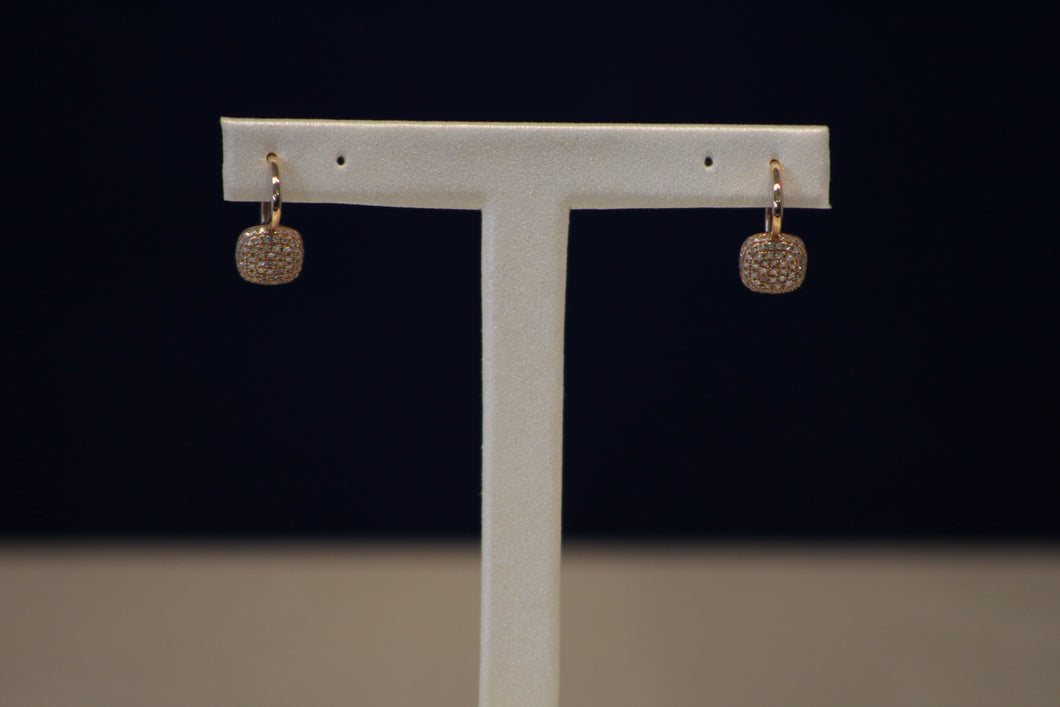 14k Rose Gold Diamond Square Shaped Earrings
