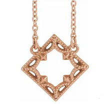Load image into Gallery viewer, 14k Rose Gold Square Necklace with Vintage Border