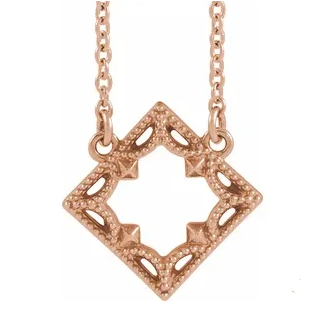 14k Rose Gold Square Necklace with Vintage Border