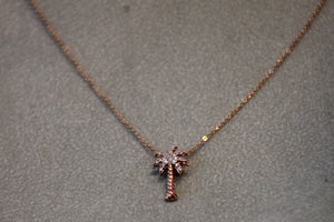 14k Rose Gold Wire Image Palm Tree Pendant