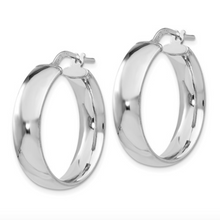 Load image into Gallery viewer, Sterling Silver Polished Hinged Hoop Earrings