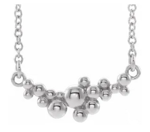 Sterling Silver Scattered Bead Necklace