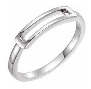 Sterling Silver Open Rectangle Stackable Ring
