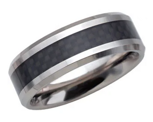 White Tungsten Beveled Band (8mm)