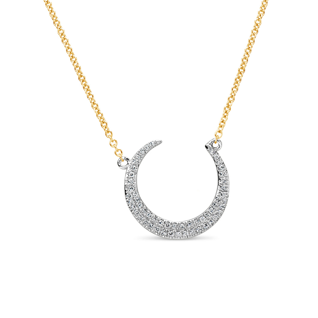 14k White and Yellow Gold Crescent Shaped Diamond Pendant with Extender