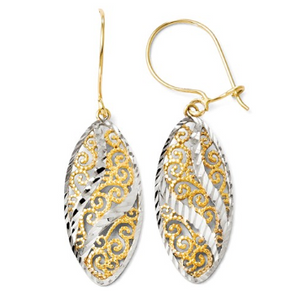 14k Yellow and White Gold Dangle Earrings