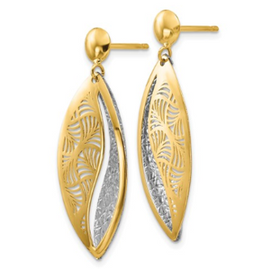 14k Yellow and White Gold Polished and Diamond Cut Teardrop Dangle Earrings