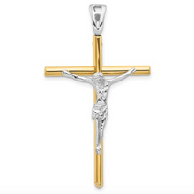 Load image into Gallery viewer, 14k Two-Tone Yellow and White Gold Crucifix Cross Pendant