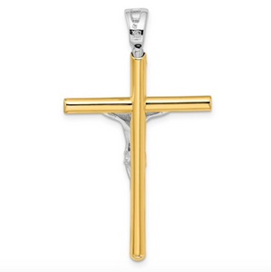 14k Two-Tone Yellow and White Gold Crucifix Cross Pendant