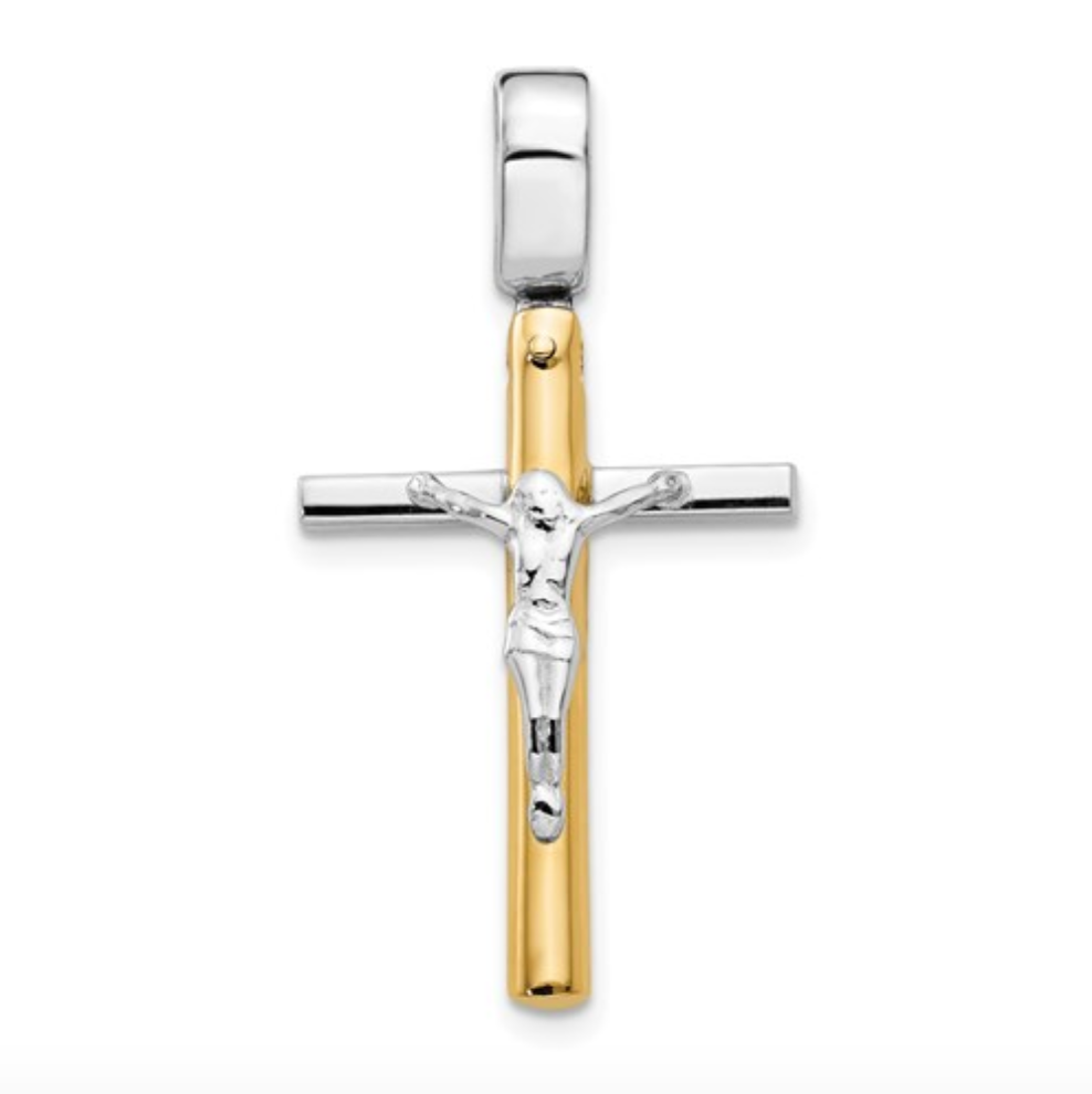14k Yellow and White Gold Polished Crucifix Pendant