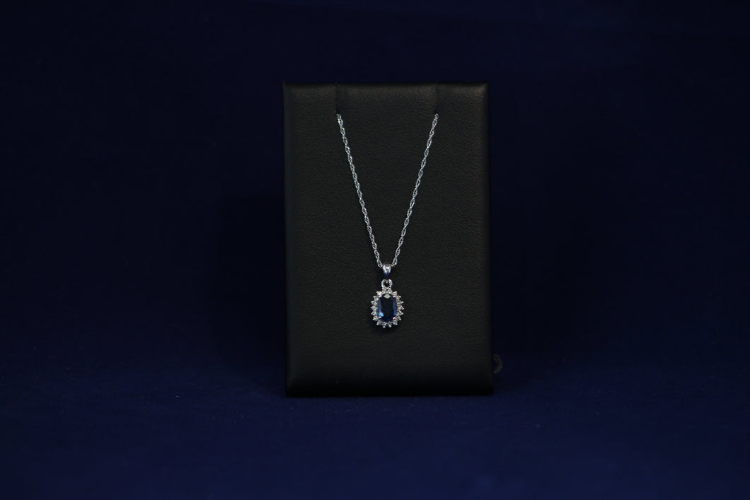 14k White Gold Sapphire & Diamond Necklace