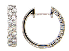 Load image into Gallery viewer, 14k White Gold Double Row Diamond Hoop Earrings