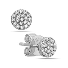 Load image into Gallery viewer, 14k White Gold Round Diamond Earrings