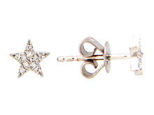 Load image into Gallery viewer, 14k Yellow Gold Diamond Star Stud Earrings
