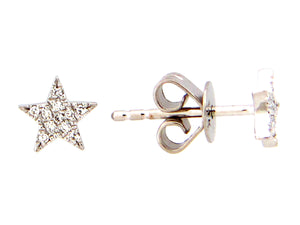 14k Yellow Gold Diamond Star Stud Earrings