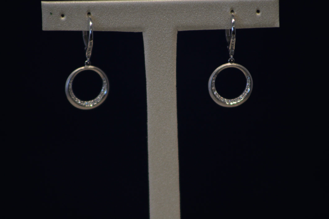 14k White Gold O Shaped Dangle Earrings