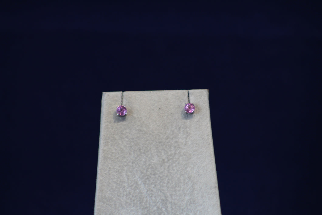 14k White Gold Round Pink Sapphire Stud Earrings