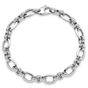 14k White Gold Polished Bracelet (7.5 Inches)