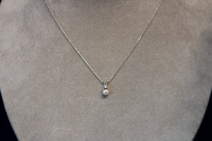 14k White Gold White Akoya 5mm Pearl and Diamond Pendant