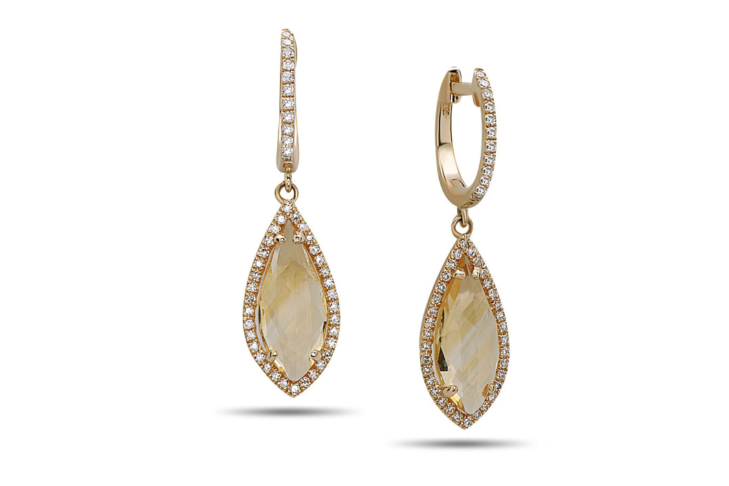 14k Yellow Gold Citrine and Diamond Tear Drop Shaped Earrings