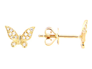 14k Yellow Gold Diamond Butterfly Shaped Earrings